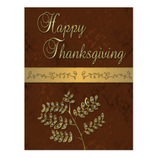 Happy Thanksgiving Golden Leaves - Postcard