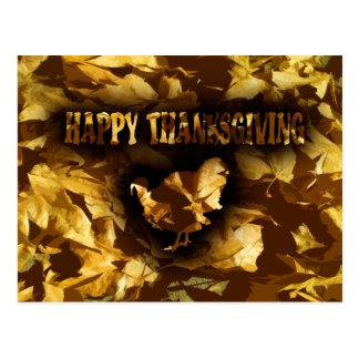 HAPPY THANKSGIVING - Golden Leaves & Turkey Postcard