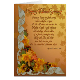 Happy Thanksgiving greeting card with poem