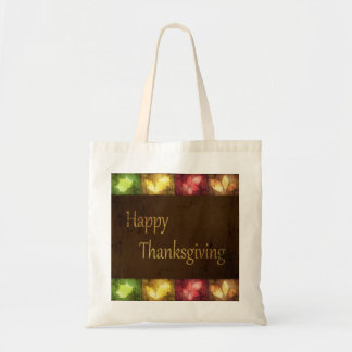 Happy Thanksgiving Grunge Leaves - Budget Tote