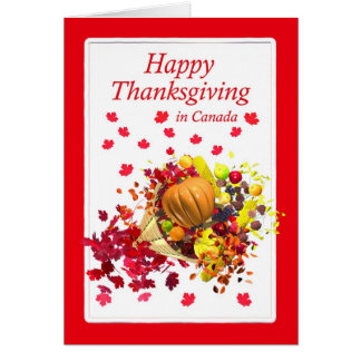 Happy Thanksgiving in Canada Cornucopia Card