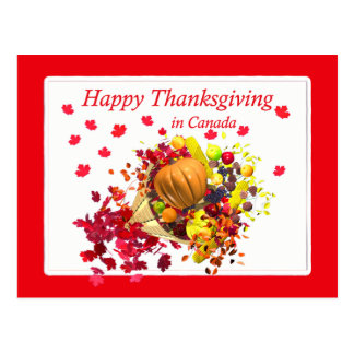 Happy Thanksgiving in Canada Cornucopia Postcard