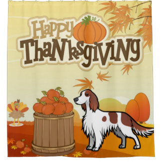 Happy Thanksgiving Irish Red and White Setter Shower Curtain