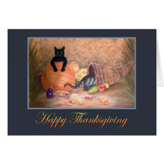 Happy Thanksgiving Kitties, pumpkin & cornucopia Card