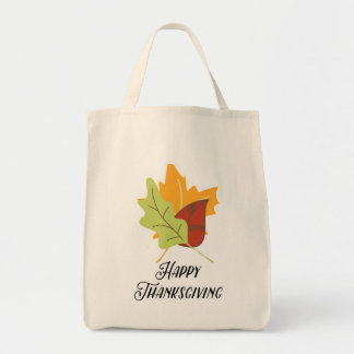 Happy Thanksgiving Leaves Grocery Tote Bag
