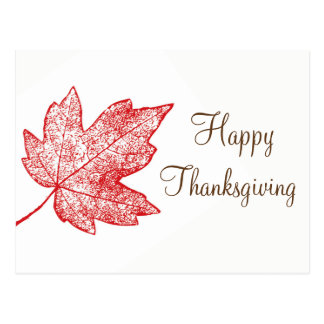 Happy Thanksgiving Maple Leaf Skeleton Postcard