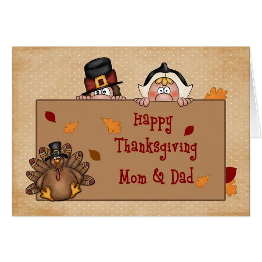 Happy Thanksgiving Mum and Dad Greeting Card