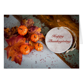 """Happy Thanksgiving"" on wooden day Card"