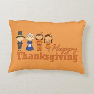 Happy Thanksgiving Pilgrim and Native American Decorative Cushion