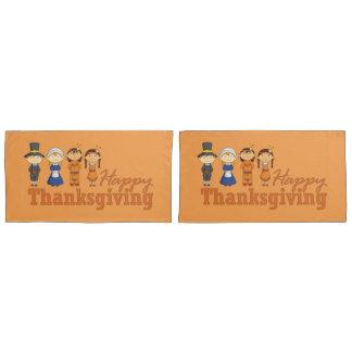 Happy Thanksgiving Pilgrim and Native American Pillowcase