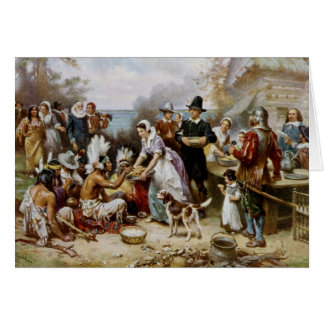 Happy Thanksgiving Pilgrim/Indian Gathering Card