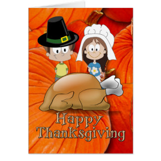 Happy Thanksgiving - Pilgrim Kids - Turkey Card