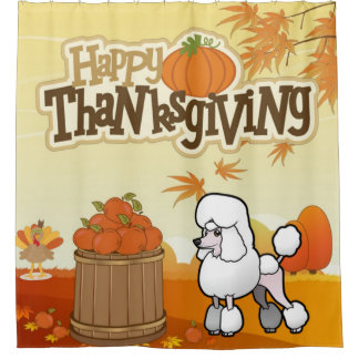Happy Thanksgiving Poodle Shower Curtain