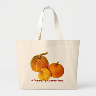 Happy Thanksgiving - pumpkin Large Tote Bag