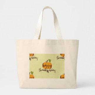 Happy Thanksgiving pumpkin Large Tote Bag