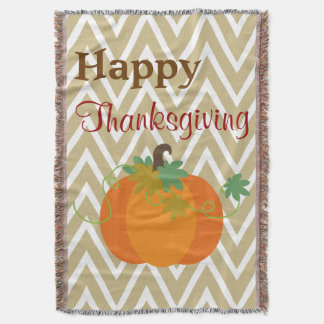 Happy Thanksgiving Pumpkin Throw Blanket