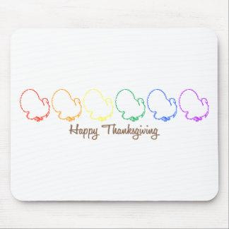 Happy Thanksgiving (Rainbow Turkeys) Mousepads