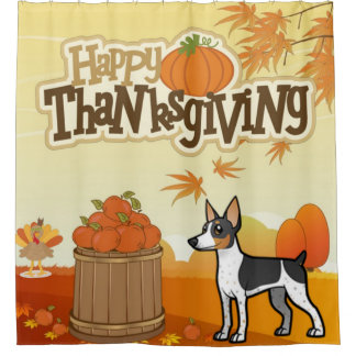 Happy Thanksgiving Rat Terrier Shower Curtain
