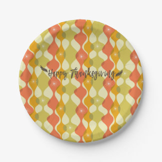 Happy Thanksgiving Retro Autumn Design Paper Plate