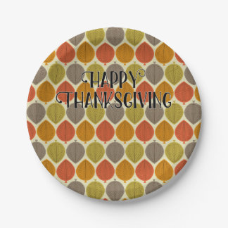 Happy Thanksgiving Retro Autumn Pattern Paper Plate