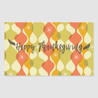 Happy Thanksgiving Retro Design Rectangular Sticker