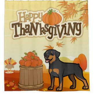 Happy Thanksgiving Rottweiler Shower Curtain
