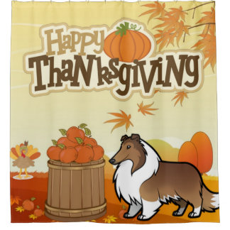 Happy Thanksgiving Rough Collie Shower Curtain