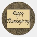 Happy Thanksgiving Round Stickers