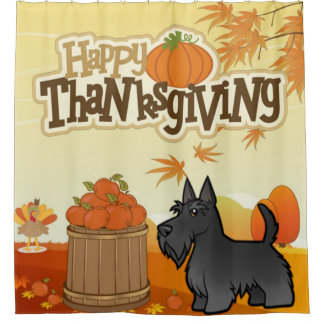 Happy Thanksgiving Scottish Terrier Shower Curtain