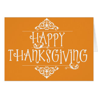 Happy Thanksgiving Script Orange Card