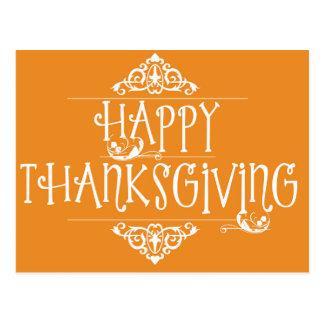 Happy Thanksgiving Script Orange Postcard