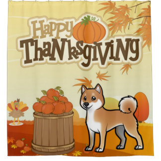Happy Thanksgiving Shiba Inu Shower Curtain
