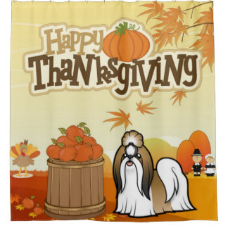 Happy Thanksgiving Shih Tzu Shower Curtain