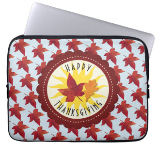 Happy Thanksgiving Sky and Fall Leaves Laptop Sleeve
