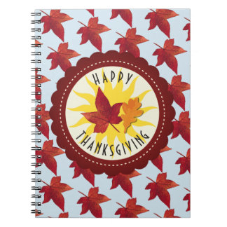 Happy Thanksgiving Sky and Fall Leaves Notebook