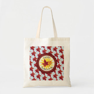 Happy Thanksgiving Sky and Fall Leaves Tote Bag