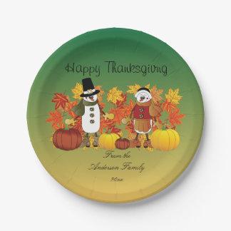 Happy Thanksgiving Snowman Pilgrims 7 Inch Paper Plate