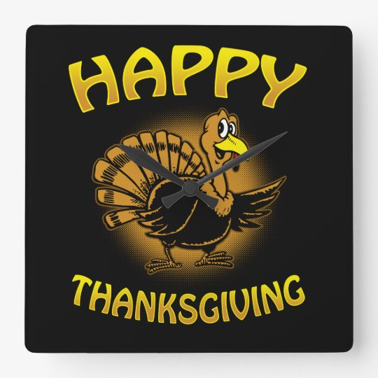 Happy Thanksgiving Square Wall Clock