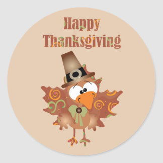 Happy Thanksgiving Sticker with Turkey