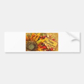 Happy Thanksgiving Sunflower Bumper Sticker