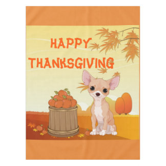 Happy Thanksgiving Tan Chihuahua Tablecloth