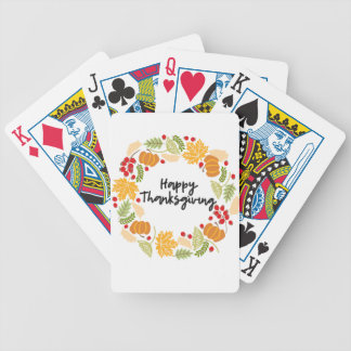 HAPPY THANKSGIVING, Thanksgiving Wreath, Cute Bicycle Playing Cards