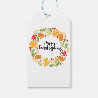 HAPPY THANKSGIVING, Thanksgiving Wreath, Cute Gift Tags