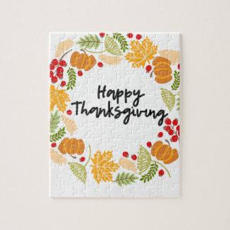 HAPPY THANKSGIVING, Thanksgiving Wreath, Cute Jigsaw Puzzle