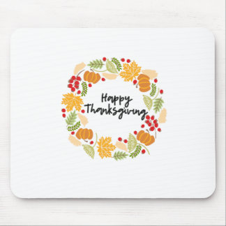 HAPPY THANKSGIVING, Thanksgiving Wreath, Cute Mouse Pad