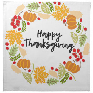 HAPPY THANKSGIVING, Thanksgiving Wreath, Cute Napkin