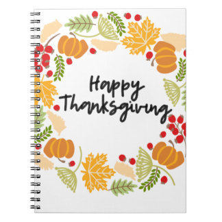 HAPPY THANKSGIVING, Thanksgiving Wreath, Cute Notebook