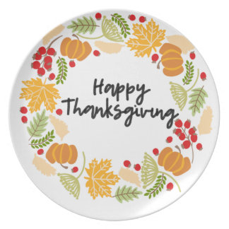 HAPPY THANKSGIVING, Thanksgiving Wreath, Cute Plate