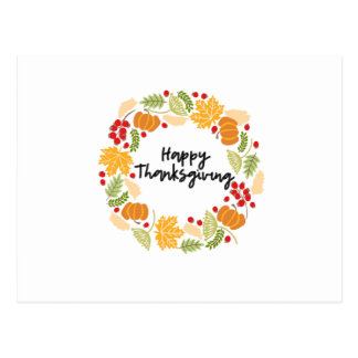 HAPPY THANKSGIVING, Thanksgiving Wreath, Cute Postcard