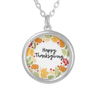 HAPPY THANKSGIVING, Thanksgiving Wreath, Cute Silver Plated Necklace